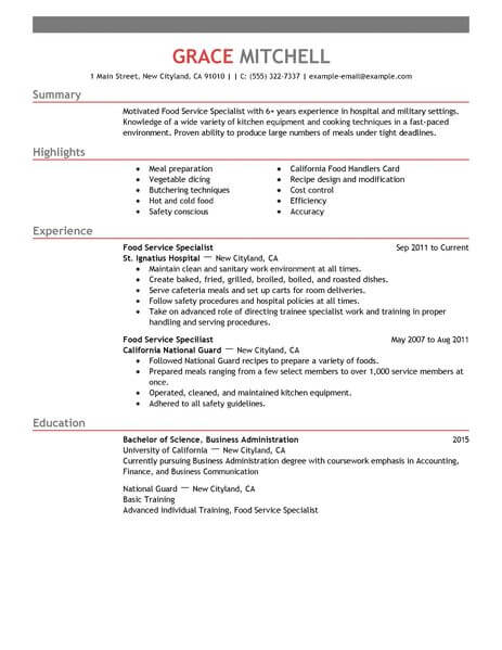 Simple Food Service Specialist Resume Example LiveCareer - Food Service Resume Samples