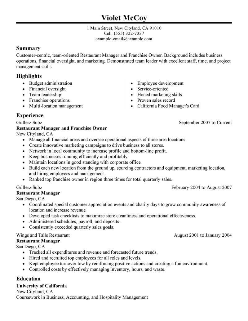 convenience store owner resume sample