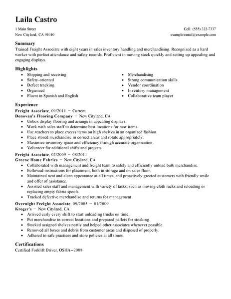 Best Sales Freight Associate Resume Example LiveCareer