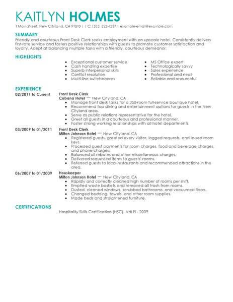 hotel front desk job resume sample