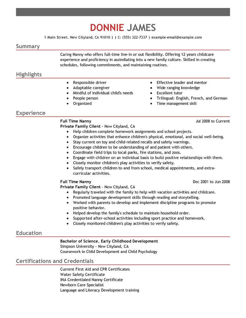full time parent cv example