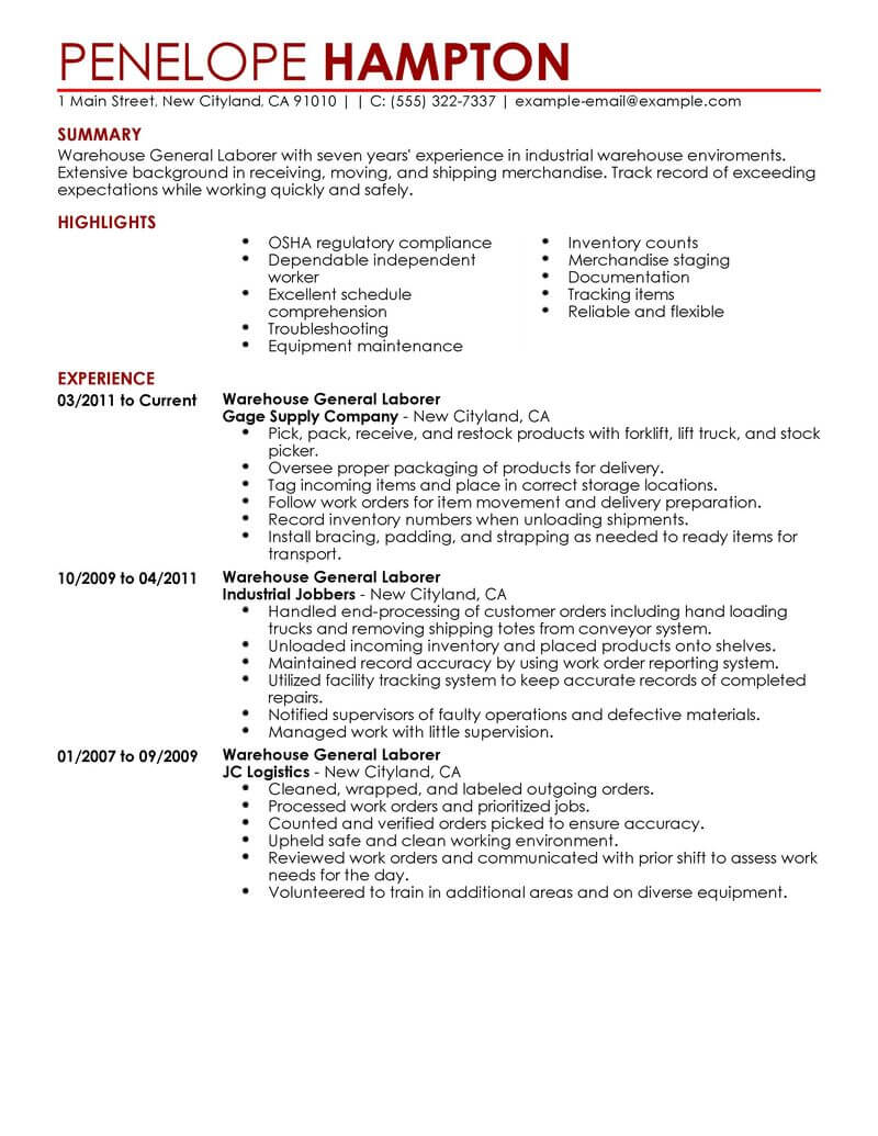 production laborer resume sample
