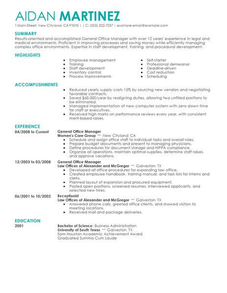 Best Administrative General Manager Resume Example LiveCareer - resume achievements