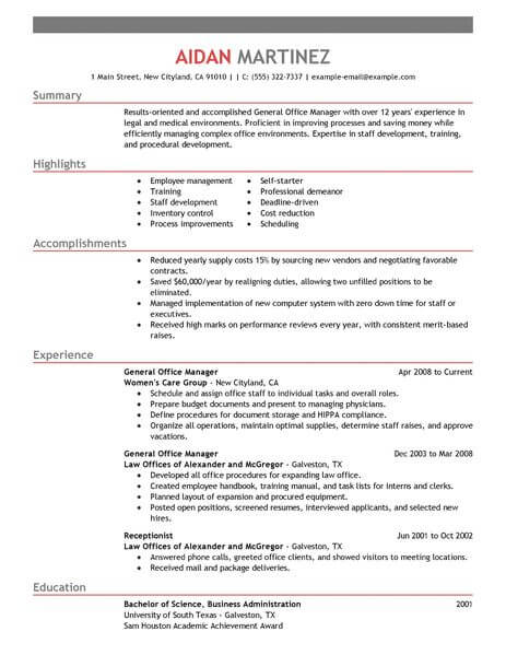 Best Administrative General Manager Resume Example LiveCareer - achievements resume