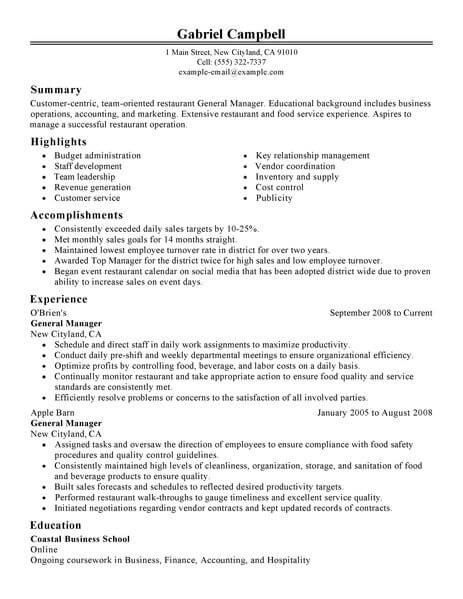Best Restaurant/Bar General Manager Resume Example LiveCareer - General Resume