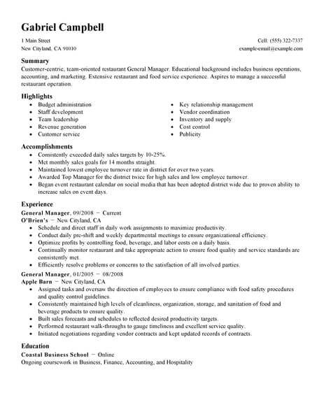 resume examples bar manager