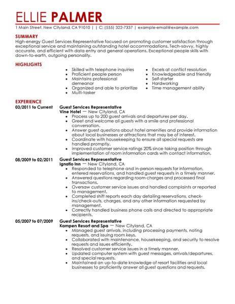 Best Guest Service Representative Resume Example LiveCareer - job description resume samples