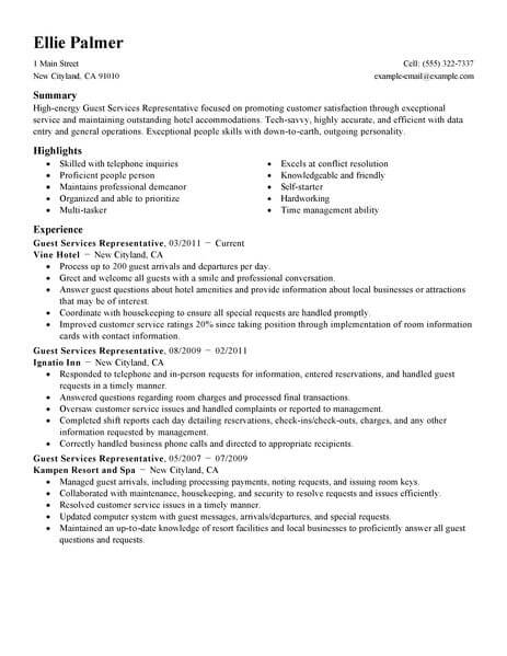 guest service representative resume sample