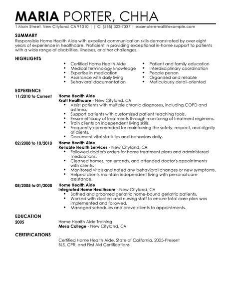 resume description home health aide