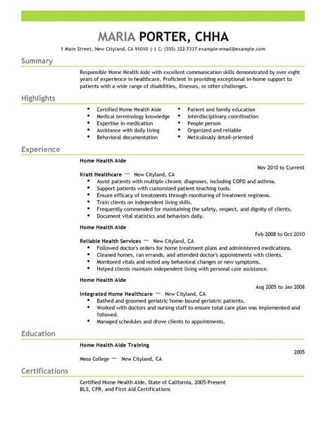 sample resume for cna hha