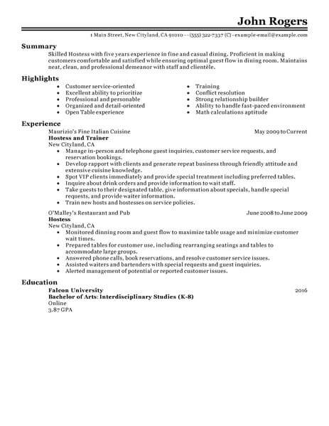 resume examples waitress hostess