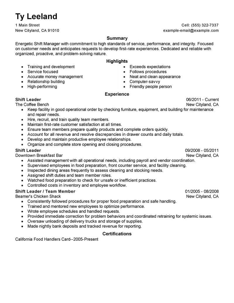 resume examples for restaurant management