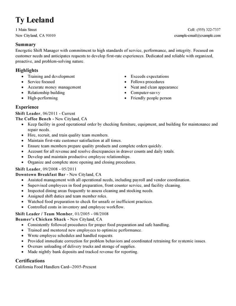 resume examples for shift manager