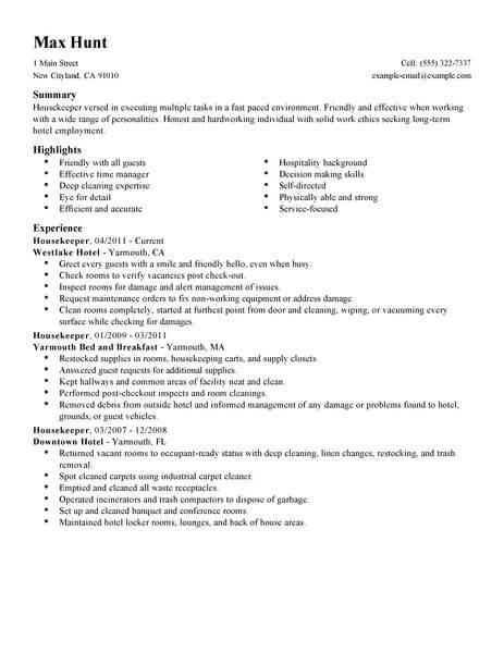 cv for hotel housekeeping job