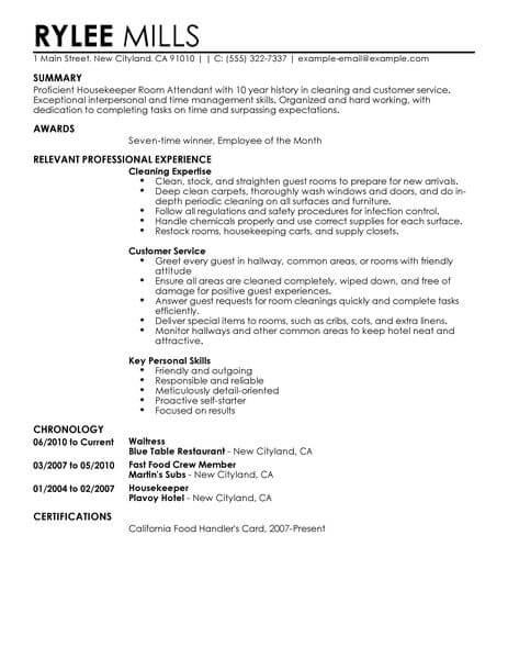 sample resume hotel housekeeping room attendant