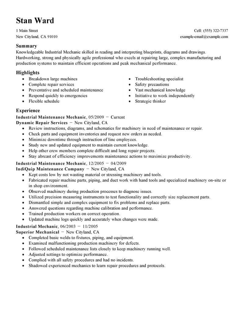 resume examples for industrial mechanic