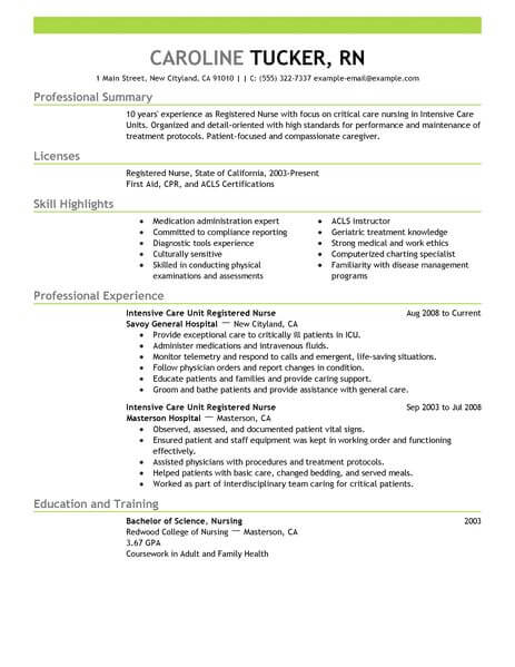 Best Intensive Care Unit Registered Nurse Resume Example LiveCareer - professional nursing resume