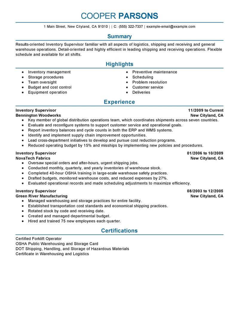 resume objective supervisor