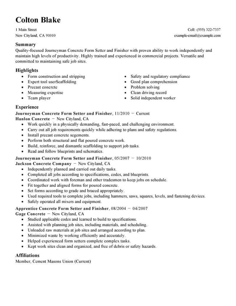 concrete construction resume template