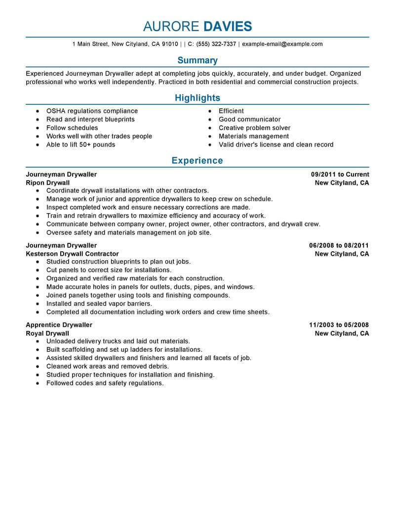 drafting resume