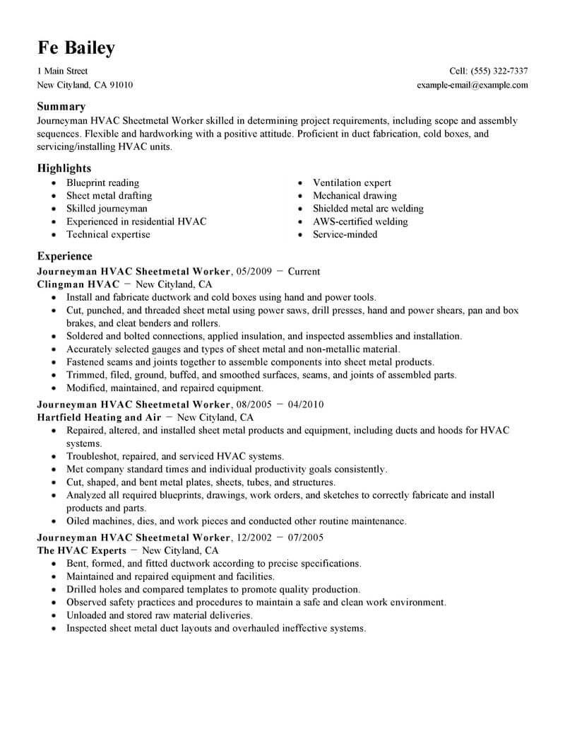 sheet metal journeyman resume samples