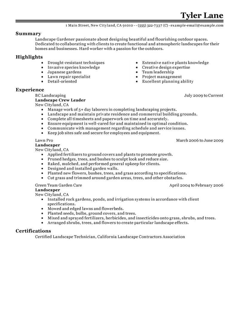 lawn care resume summary examples