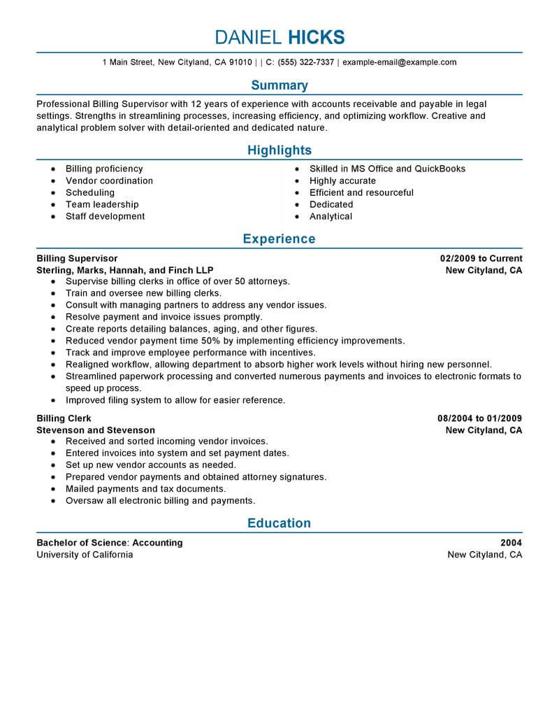 billing clerk resume sample