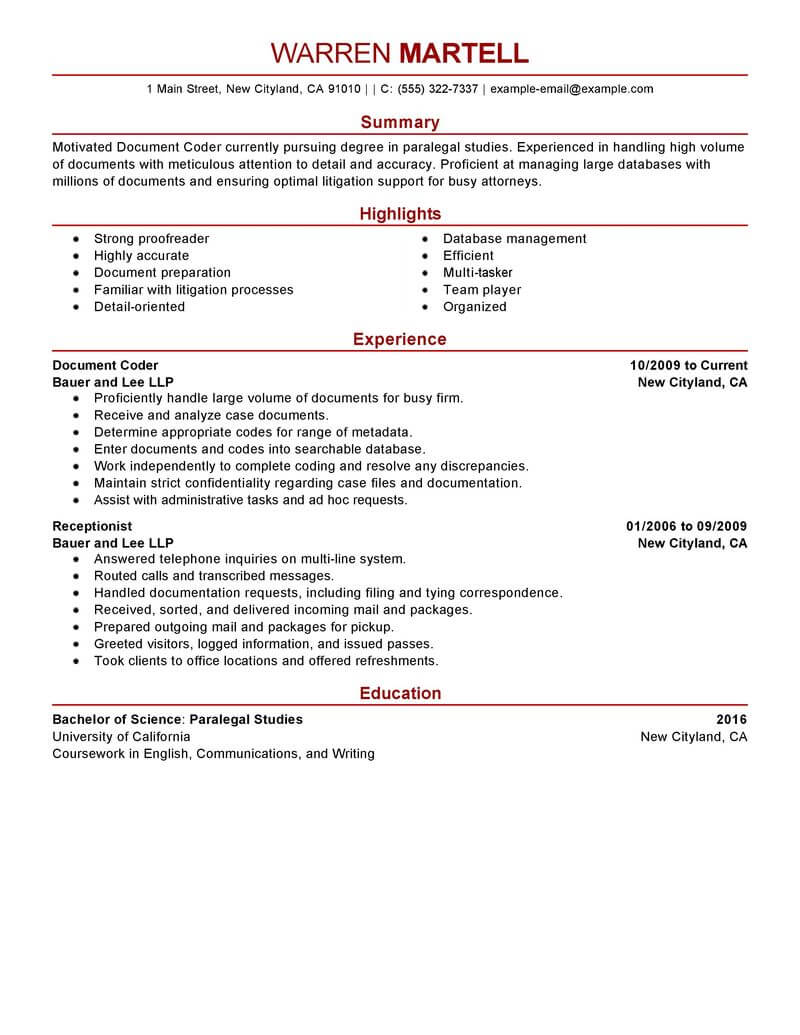 billing and coding resume examples