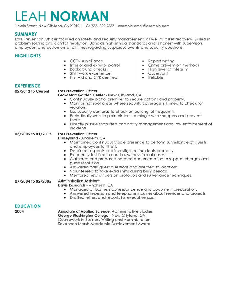loss prevention manager resume examples