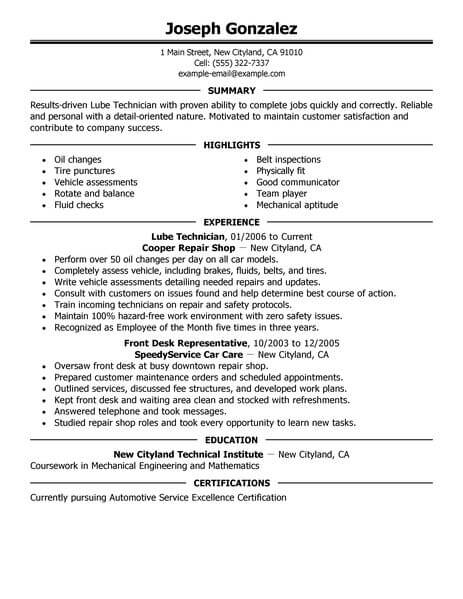 Lube Technician Resume Sample Technician Resumes LiveCareer