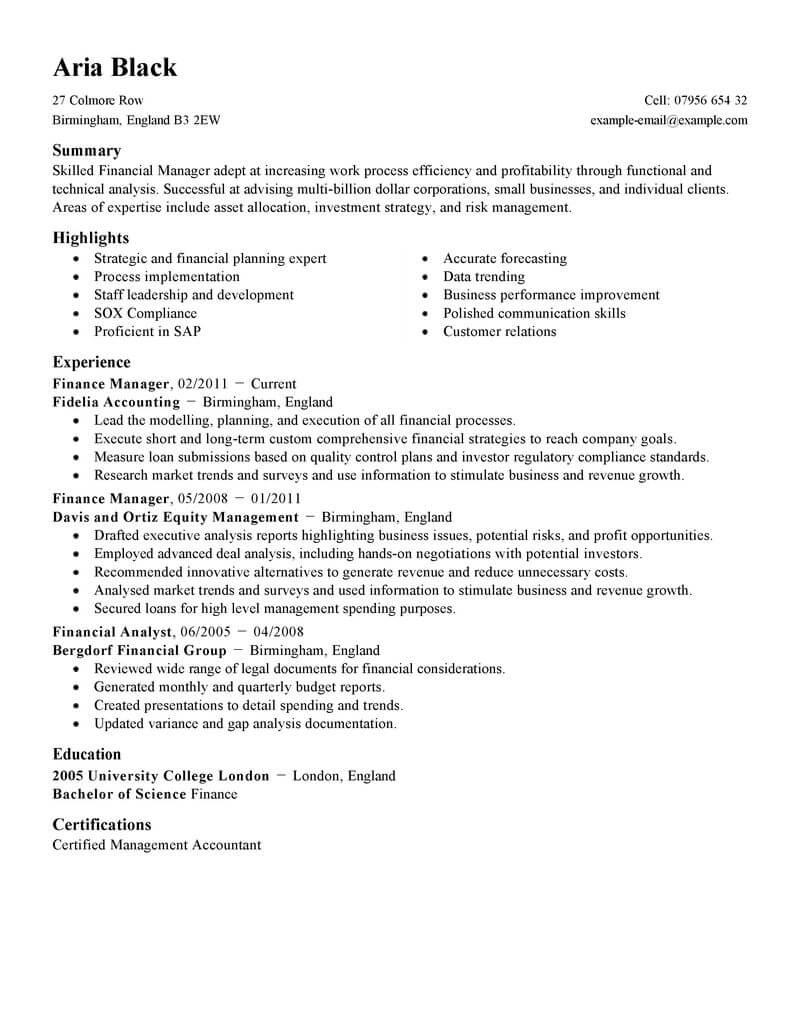 financial supervisor resume sample