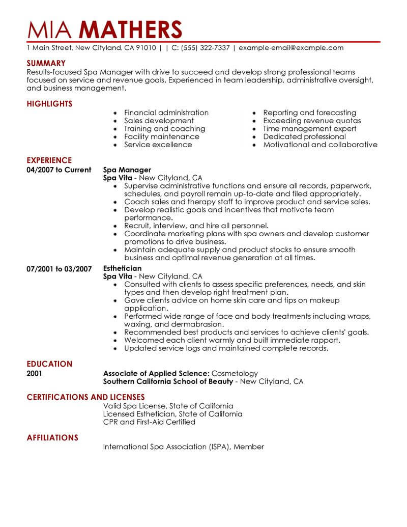 resume example for general manager of spa