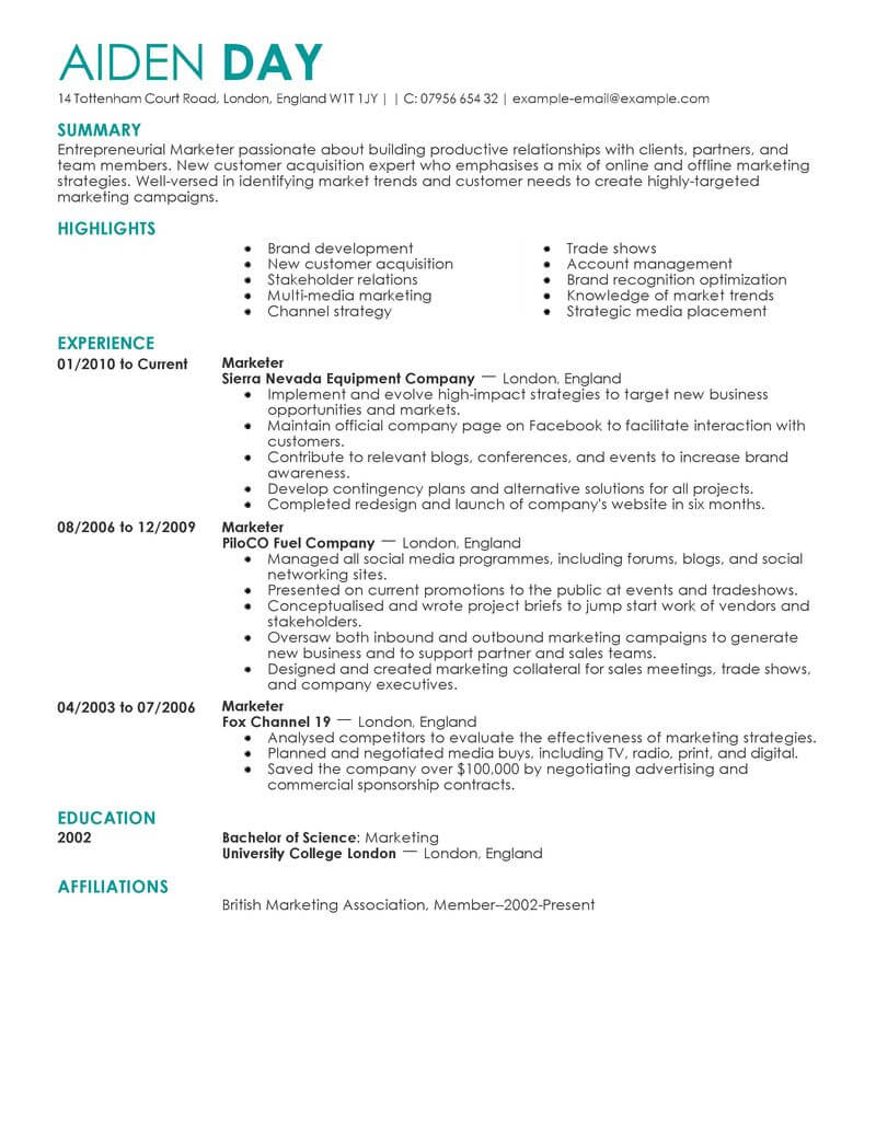 sample resume marketing specialist