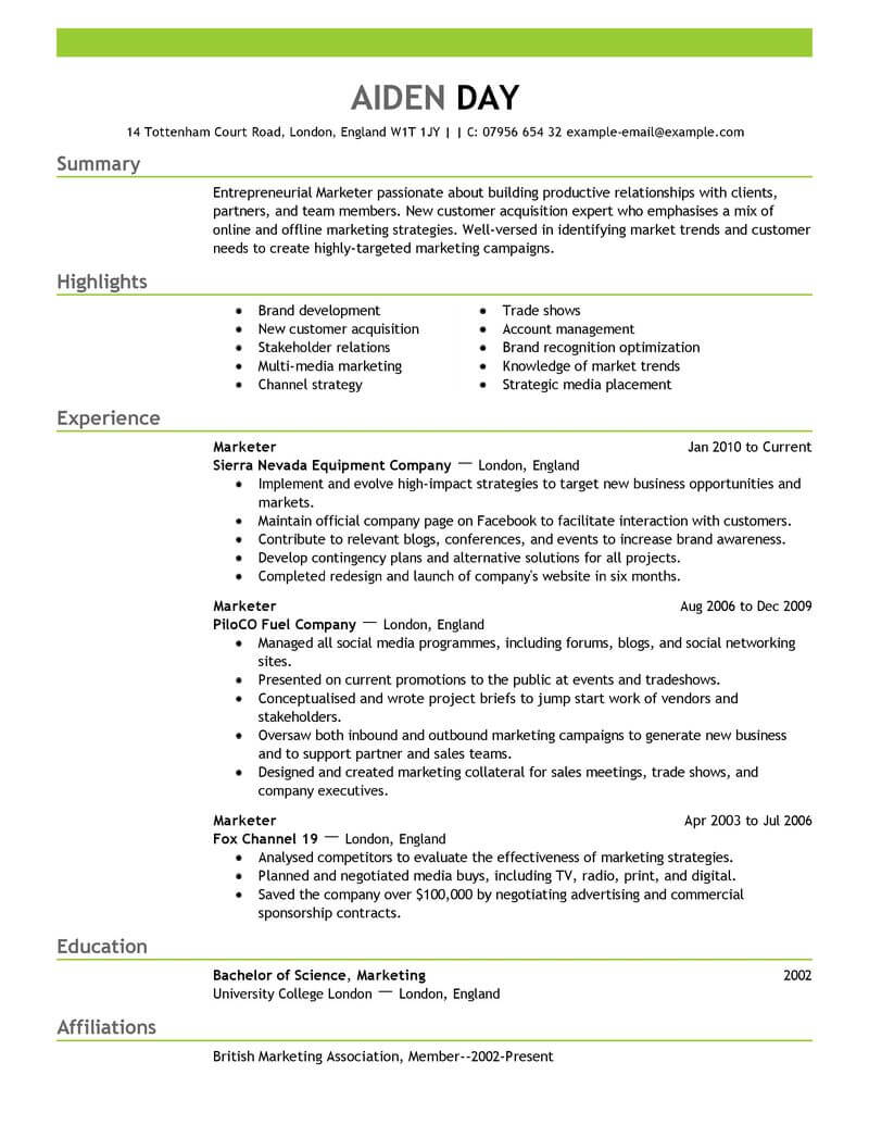 resume objective examples management position