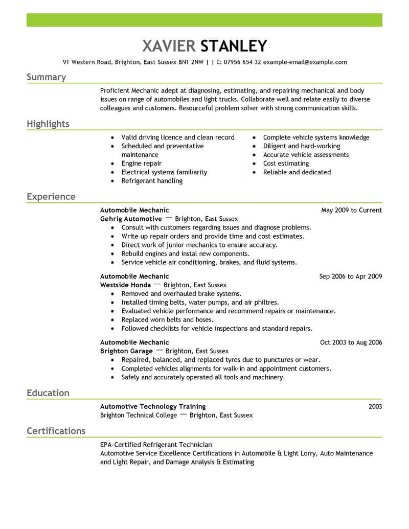 examples of mechanical classes for resume