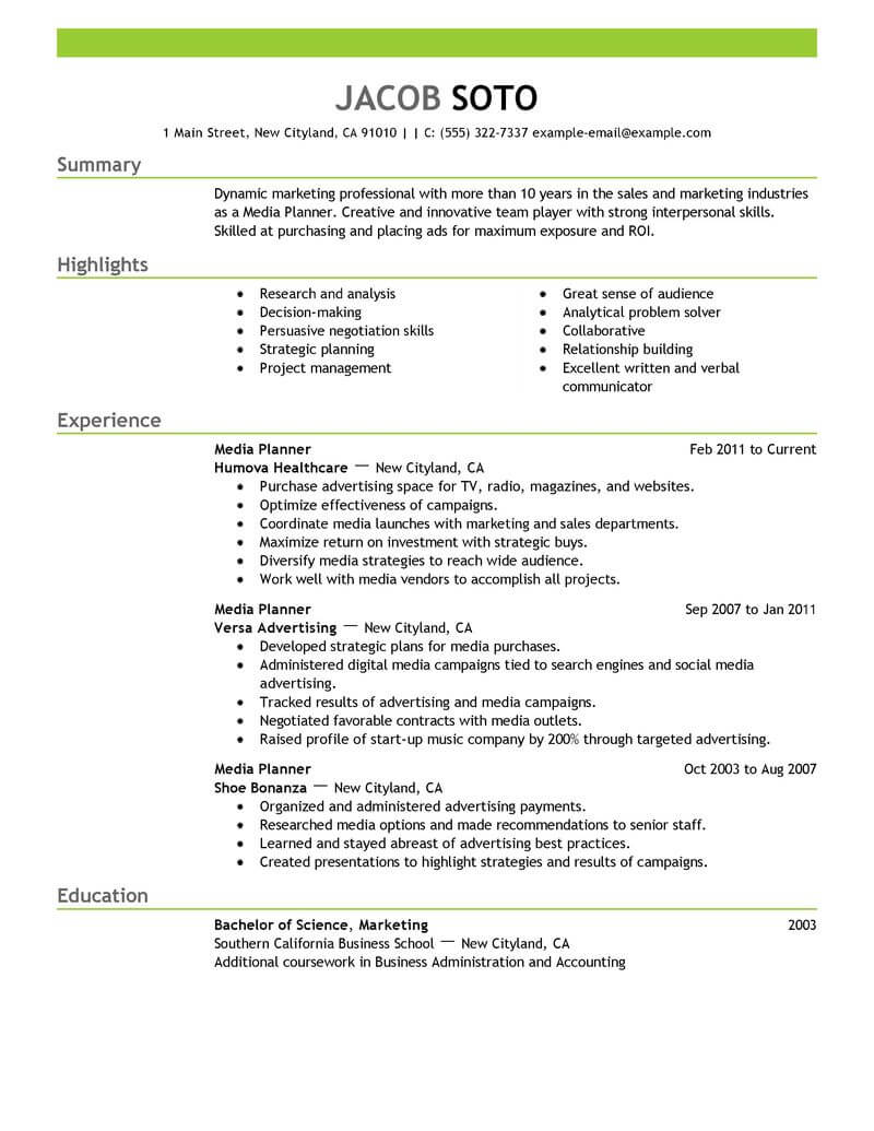 good examples of research planning and strategy for resume