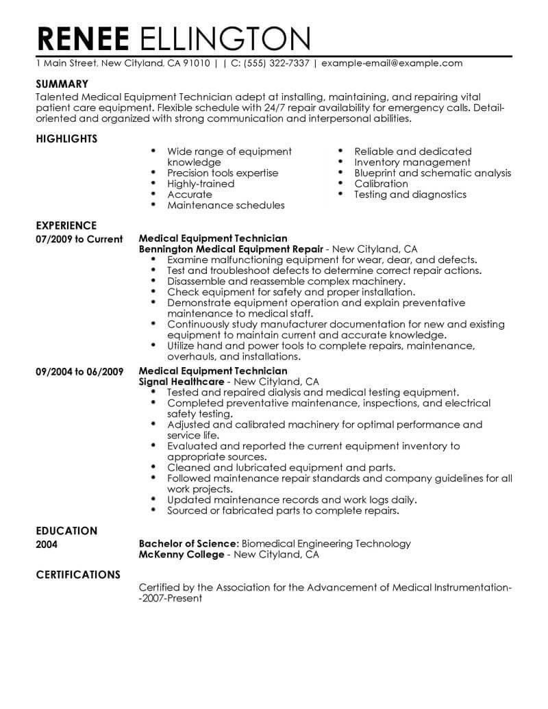 durable medical equipment resume samples