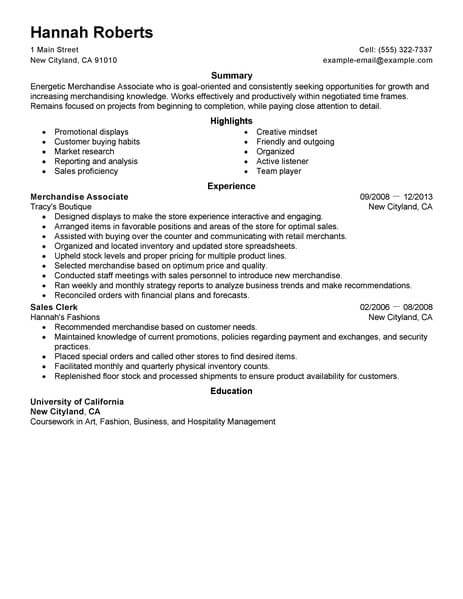 Merchandise Associate Resume Sample Associate Resumes LiveCareer