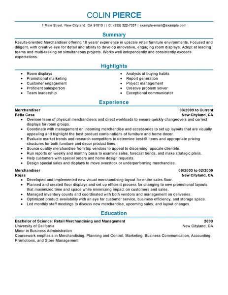 Best Merchandiser Retail Representative Part Time Resume Example - Store Merchandiser Sample Resume