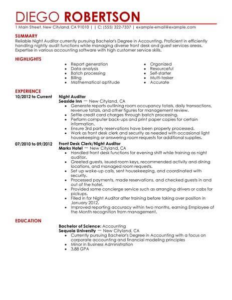night auditor resume examples