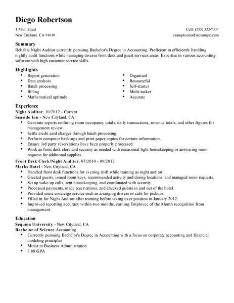 night auditor resume - Boatjeremyeaton - auditor resume examples