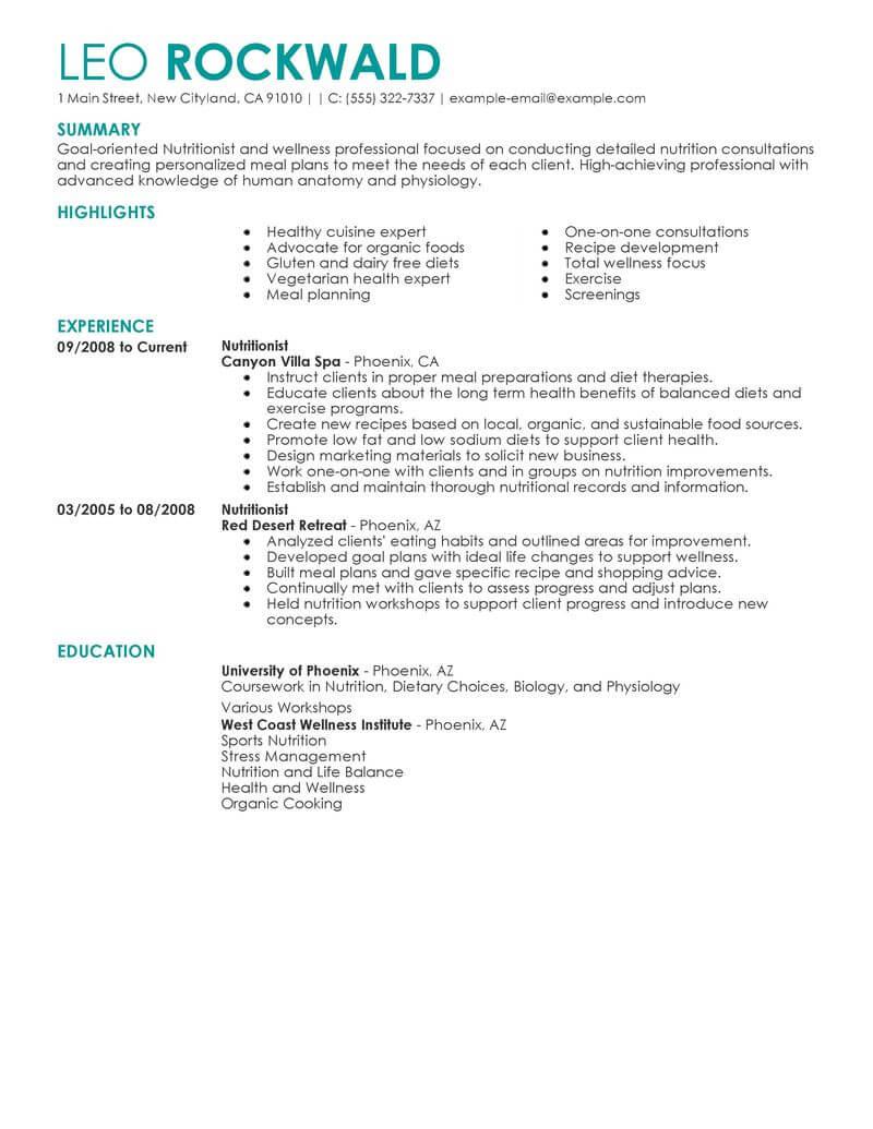 nutritionist dietetics resume sample