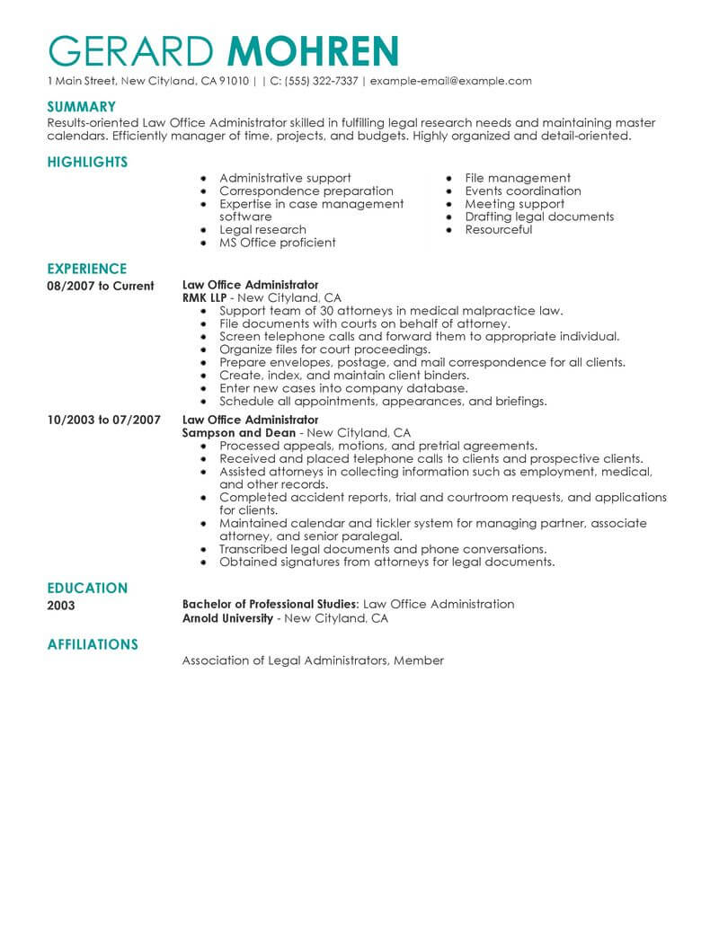 law firm office manager resume sample