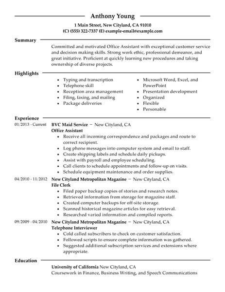 Best Office Assistant Resume Example LiveCareer - summary section of resume example