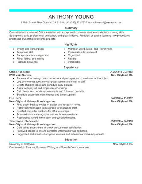 resume keywords for office assistant