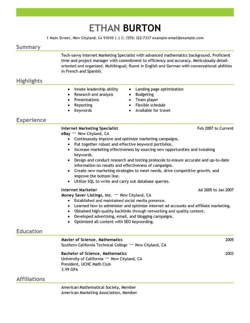 social media marketing resume example