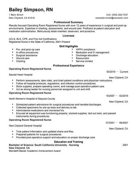 Best Operating Room Registered Nurse Resume Example LiveCareer - Surgical Nurse Resume