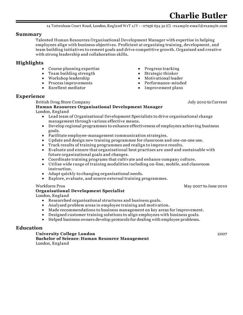 resume samples for human resources specialist
