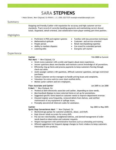 part time jobs sample resumes