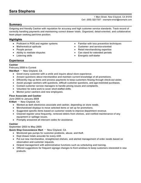 resume verbs for cashier